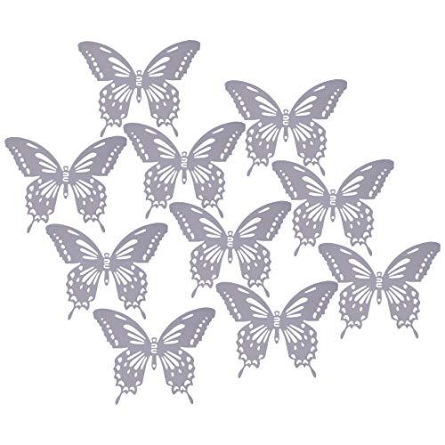 10 Mariposas Plateadas Metal Pared Arte Exterior jardín Dormitorio salón Adhesivo decoración