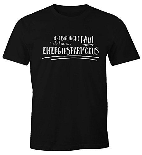 MoonWorks witziges Herren T-Shirt, Ich Bin Nicht faul ich Bin im Energiesparmodus, Funshirt schwarz M
