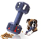 NEOROD Durable Dog Chew Toys for Aggressive Chewer. Indestructible Interactive Dental Toys for Training and Cleaning Teeth. Natural Rubber Bacon Flavored Dumbbell Dispensing Toy for Medium Small Dogs