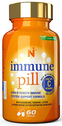 Immune Pill - Premium HIGH Strength Immune System Support Formula with 1000MG Vitamin C, 9 Vitamins, Turmeric, Elderberry, ZINC, LYSINE, Ginger, Vitamin D3 - Made in The UK by NUTRALI