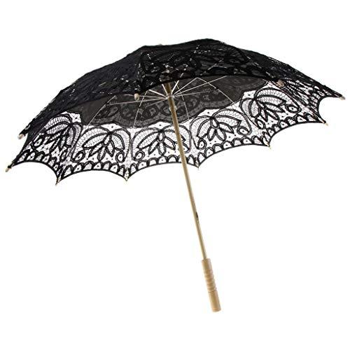 LOVIVER Hochzeitsschirm Deko Schirm Sonnenschirm Spitze Romantische Party Foto Requisiten Regenschirm Brautschirm lace Umbrella Spitzenschirm für Hochzeit - Schwarz