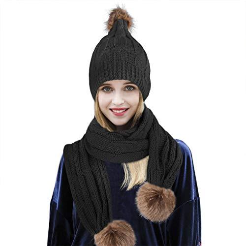 YJZQ Femme Beanie Chapeau Bonnet et Écharpe de Cercle Bonnet écharpe Ensemble Casquette du Pompon Cache-Col Set d'hiver Foulards Longue châle de Laine