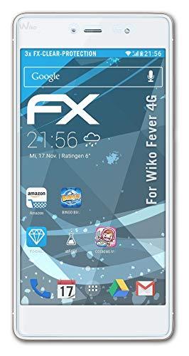 atFolix Schutzfolie kompatibel mit Wiko Fever 4G Folie, ultraklare FX Bildschirmschutzfolie (3X)