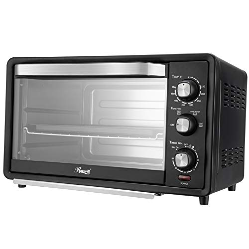 Rosewill RHTO-19001 6-Slice Toaster Oven with Timer & Temperature Settings, 19-Liter Large Capacity Fits 12-Inch Pizza, Stainless Steel Countertop Toaster Oven, Baking Pan, Broil Rack