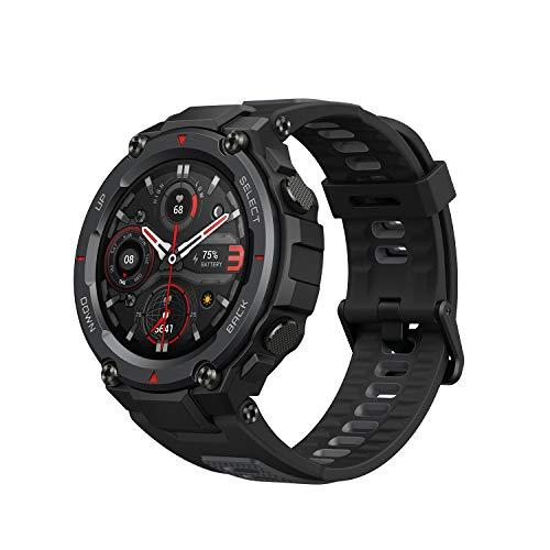 Amazfit T Rex Pro Smartwatch Outdoor Uhr mit SpO2, Herzfrequenz, Schlafmonitor, Sportuhr mit 100 Sportmodi, 10 ATM wasserdicht, 18 Tage Akku, GPS für Herren Damen (Schwarz)