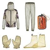 powers Traje de protección exterior de 4 piezas para exterior, ropa de protección de malla Jungla Aventura, pesca S-auvage antimorsure mantillo, guantes y pantalones