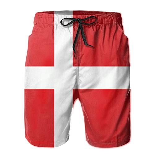 QUEMIN Danish Flag Mens Casual Swim Trunks Quick Dry Beach Shorts Summer Boardshorts with Mesh Lining,L