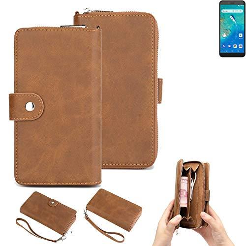 K-S-Trade Handy-Schutz-Hülle Für General Mobile GM 8 Go Portemonnee Tasche Wallet-Hülle Bookstyle-Etui Braun (1x)