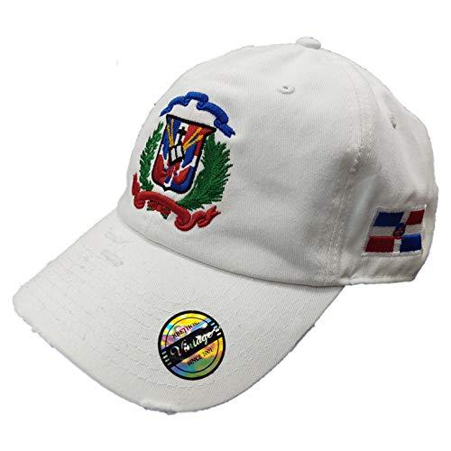 Verstellbare Vintage-Kappe Dominikanische Republik RD und Schild - Wei� - Einheitsgröße