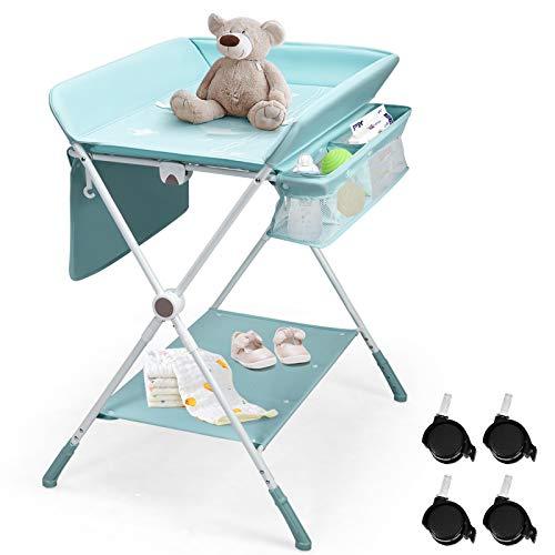 GOPLUS 3 in 1 Baby Wickelkombination, Wickeltisch Badestation Wäscheständer, Höhenverstellbar & Klappbar & Rollbar, mit Seitlicher Tasche & Ablagefächern, Wickelauflage mit Sicherheitsgurt (Blau)