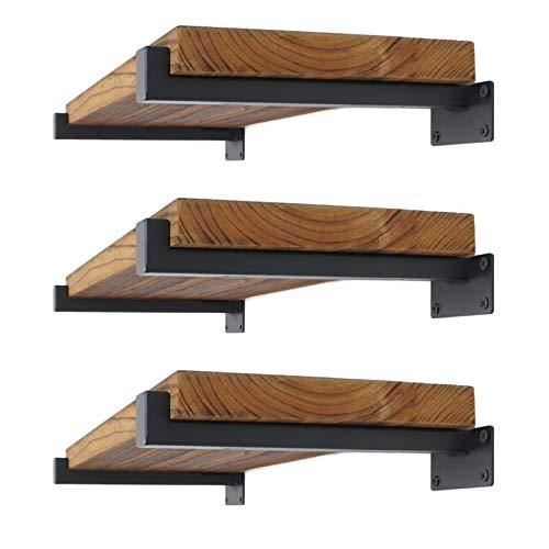 EZYDECOR 6Pcs Floating Shelves Brackets Heavy Duty Wooden Shelf Brackets 10inch Decorative Wall Shelf Brackets & Supports with Lip (Black) 10
