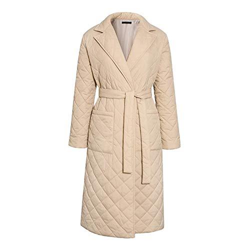 #N/A/a Abrigo largo de invierno con patrón de rombos fajas casuales Parkas mujeres bolsillos profundos a medida cuello elegante prendas de vestir - Beige S