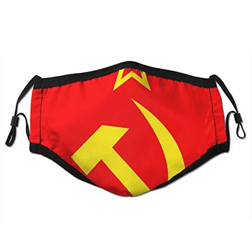 Icona di comunismo dell'URSS con logo dell'Unione falce e martello o bandiera con il simbolo del socialismo,Filtro riutilizzabile lavabile e viso paradenti riutilizzabile
