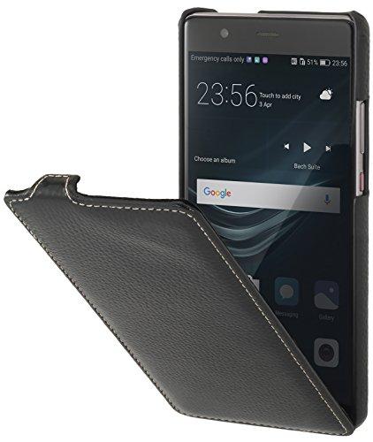StilGut UltraSlim Hülle Hülle Leder-Tasche für Huawei P9 Plus. Dünnes Flip-Hülle vertikal klappbar aus Echtleder für das Original Huawei P9 Plus, Schwarz