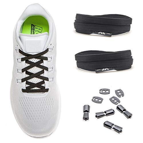 MAXX laces Flache Schnürsenkel Elastische Schuhbänder mit Einstellbarer Spannung, Unsichtbare Verschlußsystem, Ohne Binden, für Sportschuhe, Turnschuhe, Sneakers, Laufschuhe, [Schwarz]