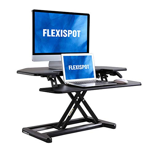 FLEXISPOT Stand up Desk Converter  36 inches Cubicles Corner Standing Desk Riser Computer Riser with Deep Keyboard Tray for Laptop 36quot Black M7C