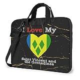 Amo mi Bandera de San Vicente y Las Granadinas Corazón Bolso para computadora portátil Bolso Bandolera Bolso para computadora Maletín Inclinado