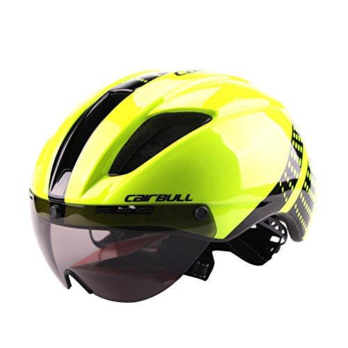 Casco Ciclista Unisex Ligero con Gafas magnéticas Desmontables Casco aerodinámico para Montar en Bicicleta Motocicleta Fluorescent Yellow M (54-58CM)