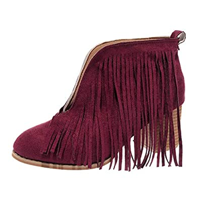 LONGDAY Flats-Shoes Womens Western Fringe Booties Cowboy Low Heel Fall Ankle Short Boots Shoes Tassels Chukka Boot
