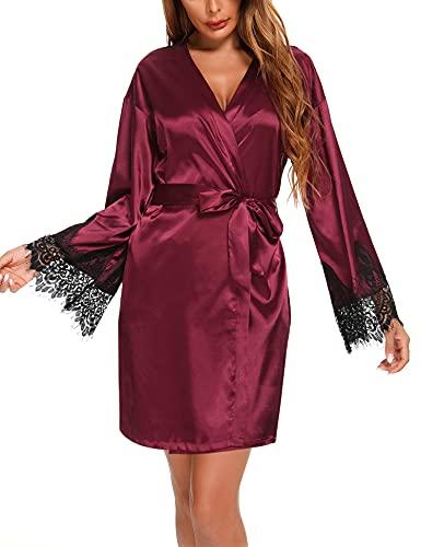 LOLLO VITA Bata de satén para mujer, sexy, kimono, corto, cuello en V, rojo vino., L