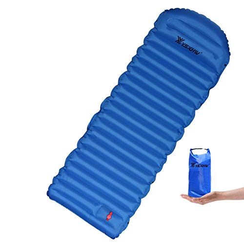 LSXWL Camping Sleeping Pad with Pillow Waterproof Inflatable Sleeping Mat Lightweight Air Mattress with Built-in Pump for Tent, Hiking and Backpacking
