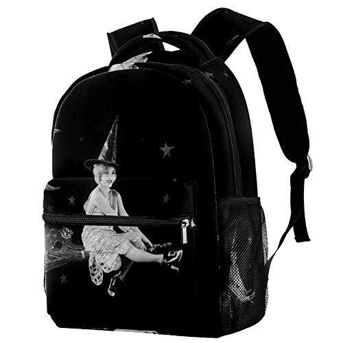 Laptop-Rucksack mit Hexe auf einem Besen, lässiger robuster Rucksack für Männer und Frauen, für Arbeit, Büro, College, Studenten, Business, Reisen, Schultasche, Büchertasche.