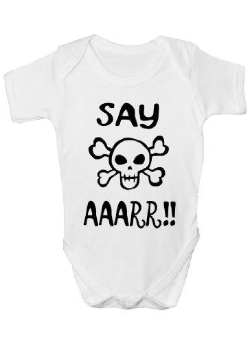 Dites Aaarr Funny Pirate Body bébé Cadeau Fille/Garçon sans manches pour bébés - Blanc -