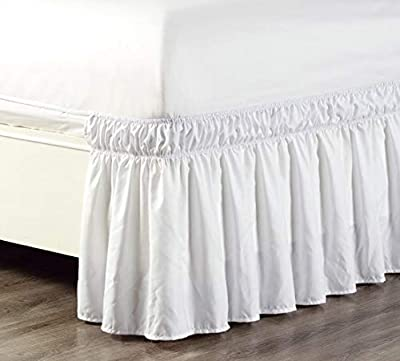 """Wrap Around 18"""" inch fall Solid Ruffled Elastic Bed Skirt 1500 Series Gold Crown Collection High Thread Count Microfiber Dust Ruffle, Silky Soft & Wrinkle Free. Twin, Full, Queen, King and Cal King"""