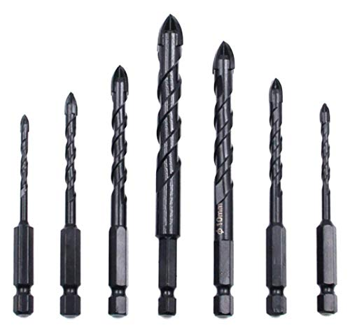 aiyun 7-Piece Masonry Drill Bit Set, 4 Cutting Edges Cross Spear Head Carbide Tipped Concrete Drill Bit for Ceramic Tile Marble Mirror and Glass (3-12mm(7-Piece), Black)