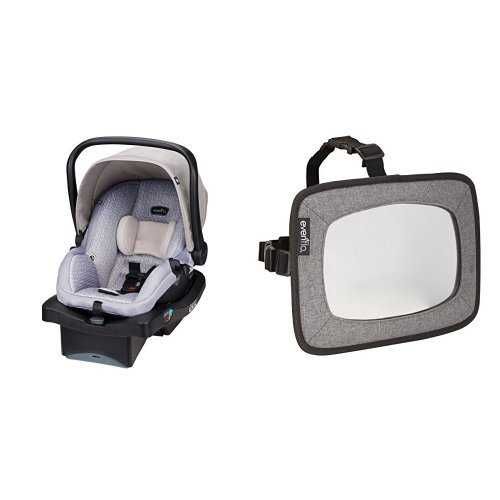 For Sale! Evenflo LiteMax 35 Infant Car Seat, Riverstone with Backseat Baby Mirror for Rear Facing C...