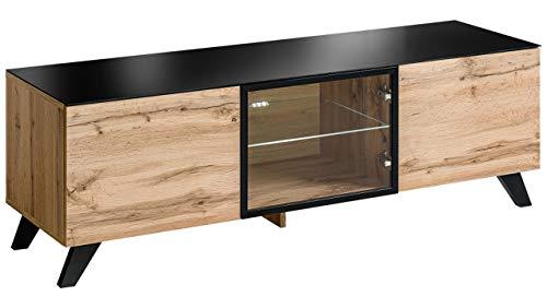 Stylefy Thon Lowboard TV-Board Fernsehtisch (HxBxT): 47x150x45 cm Wotan Eiche   Schwarz
