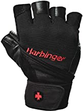 Harbinger Pro Wristwrap Weightlifting Gloves with Vented Cushioned Leather Palm (Pair), X-Large, Black