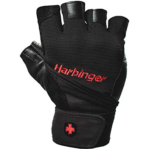 Harbinger Pro Wristwrap Weightlifting Gloves with Vented Cushioned Leather Palm (Pair), Medium