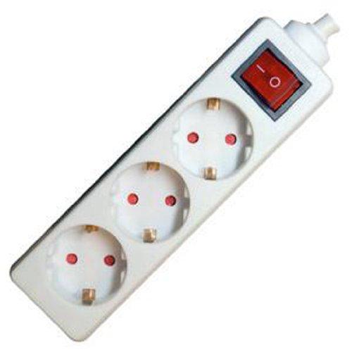 TS-Electronic 48-23151 tafelstopcontact 3-voudig 3 x 1,5 mm2, met schakelaar, wit