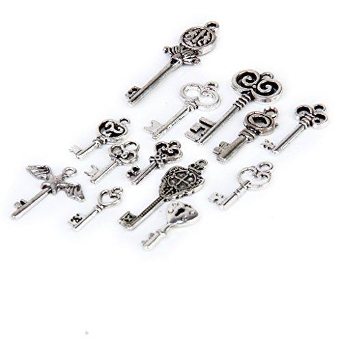 Milageto 13 Piezas Al por Mayor Surtido de Múltiples Formas de Llave de Estilo Colgante de Bricolaje para Bolsa de Collar