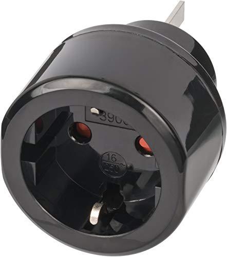 Brennenstuhl Reisestecker / Reiseadapter (Reise-Steckdosenadapter für: Australien, China Steckdose und Schutzkontakt-Stecker) schwarz