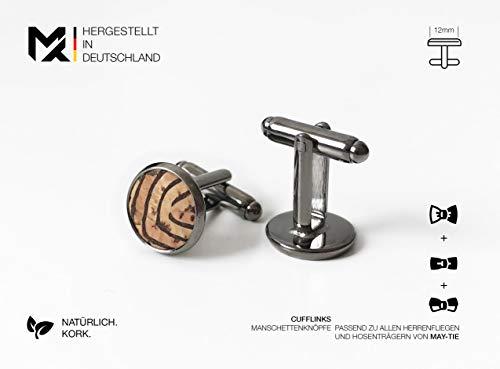 Hergestellt in Deutschland | MAY-TIE Manschettenknöpfe | 100% Kork | Style: Kambium | Geschenk für Ihn, Mann, Hochzeit, Geburtstag, Party, Vatertag