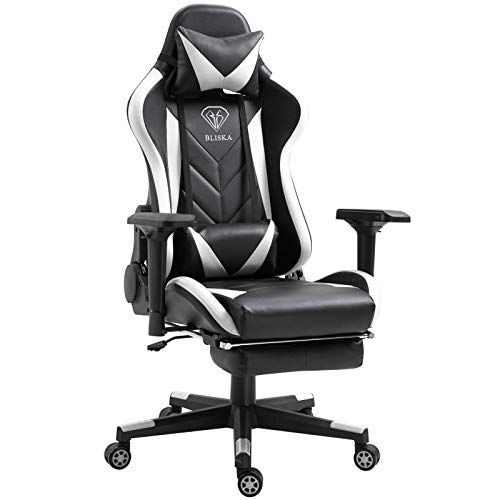 Trisens Gaming Stuhl 4D-Armlehnen Chair Racing Chefsessel Bürostuhl Sportsitz, Farbe:Schwarz/Weiß