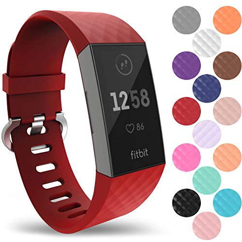 Yousave Accessories Armband Kompatibel mit Fitbit Charge 3 & 4 Armband, Silikon Ersatzarmband für Fitbit Charge3 / Charge4 Tracker, Sport Armband, Fitbit Charge 3 & 4 Armbänder - Klein - Rot