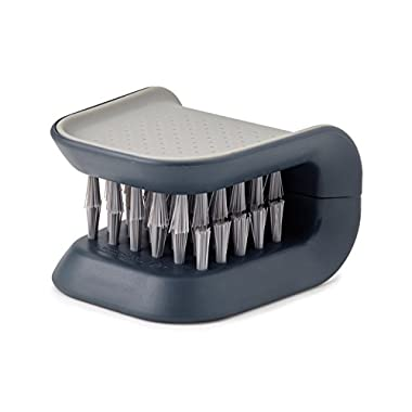 Joseph Joseph 85106 BladeBrush Knife and Cutlery Cleaner Brush Bristle Scrub Kitchen Washing Non-Slip, Gray