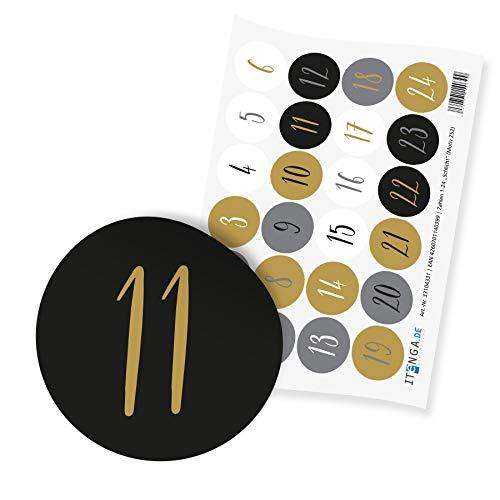 itenga 24x Adventskalenderzahlen I Sticker Aufkleber Klein I Schlicht Gold Grau Schwarz Weiß I 2,0 cm I ideal zum Basteln von Adventskalendern oder Geschenken I Ziffern von 1 bis 24