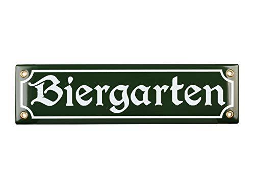 Sosenco Biergarten Schild - 8x30 cm - Keramik Emaille - Wetterfest - Oktoberfest Schild – Deko Blechschild – Emailleschild – Emailschild (Grün)