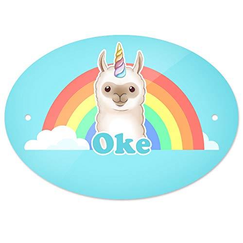 Eurofoto Türschild mit Namen Oke und Llama-Einhorn-Motiv   Kinderzimmer-Schild