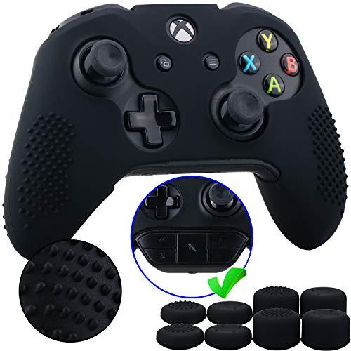 9CDeer 1 Pezzo di Costellato Protettivo Silicone Copertina Pelle Manica Caso + 8 Thumb Grips Cappucci Analogici per Controller Xbox One/S/X Nero Compatibile con Adattatore Stereo per Cuffie Ufficiale