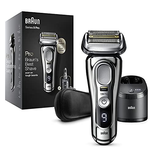 Braun Series 9 Pro Premium Rasierer Herren mit 4+1 Scherkopf, Elektrorasierer & ProLift Trimmer, 5-in-1 Reinigungsstation, 60 Min Laufzeit, Wet & Dry, 9466cc, chrom