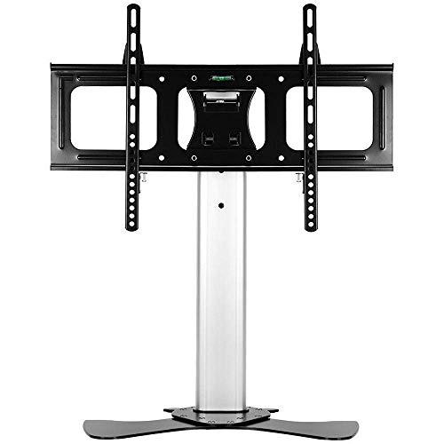 Gabinetes de piso de acero inoxidable para TV para sala de estar para televisores planos curvos de 32 a 65 pulgadas, soporte de monitor alto plateado de hasta 68 kg de altura inclinable ajustable, VES