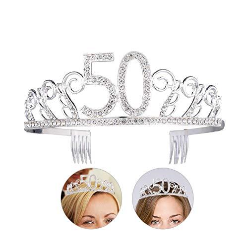 Joyeux Anniversaire 50 Cristal Tiara Couronne, Tiara Anniversaire Princesse Couronne Couronnes De Mariée Tiara Cristal Strass Tiara Couronne Décor Bandeau avec Peigne