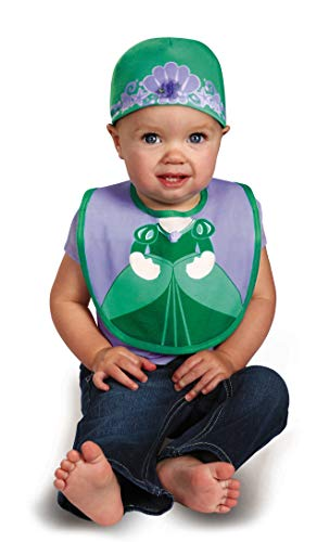 Disguise Baby Girl's Disney The Little Mermaid Ariel Bib and Hat, Green/Purple, 0-6 Months