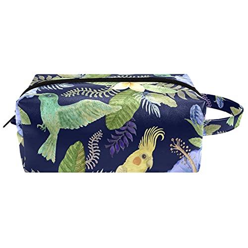 Make Up Tasche Kulturbeutel Tragbar Reise Schminktasche Kosmetiktasche Mit wasserbeständig und strapazierfähigem Blumen und der Papagei 21x8x9 cm