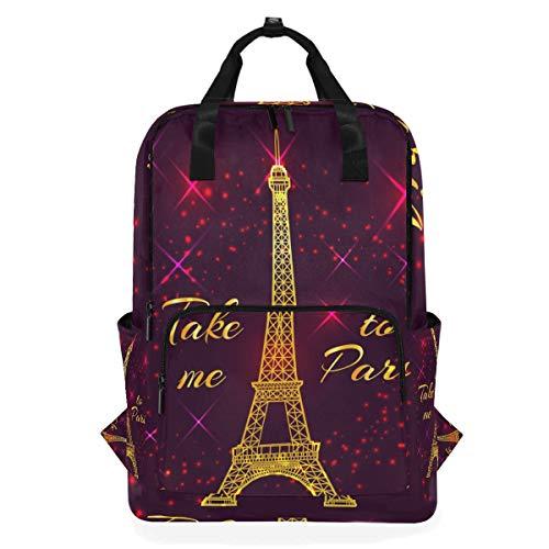 ZOMOY Rucksäcke,Postkarten Text nehmen Mich Paris Eiffel,Neue lässige Laptop leichte Tagesrucksack Leinwand College School Travel Umhängetasche Camping Klettern Wandern Taschen